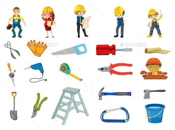 Construction Worker Set - Man-made Objects Objects