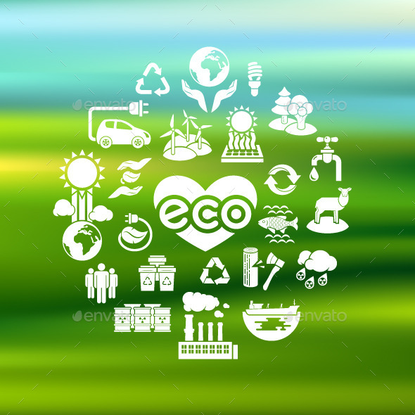 Eco Icons Silhouettes on Blurred Background - Abstract Icons