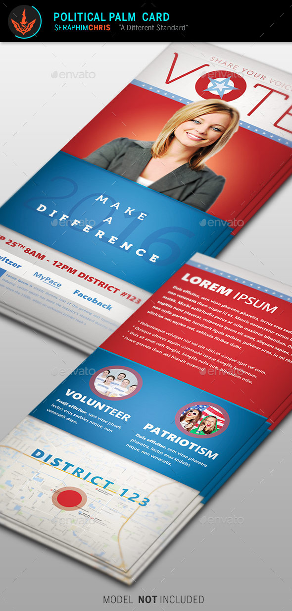 Vote Political Palm Card Template by SeraphimChris – Political Flyer Template