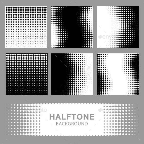 Set of Abstract Halftone Backgrounds - Miscellaneous Conceptual