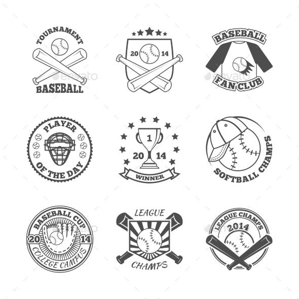 Baseball Labels Icons Set - Web Elements Vectors