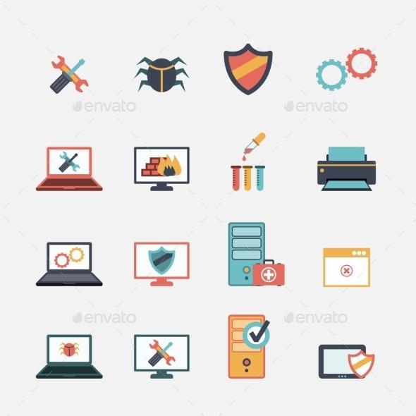 Computer Repair Flat Icons Set - Web Elements Vectors