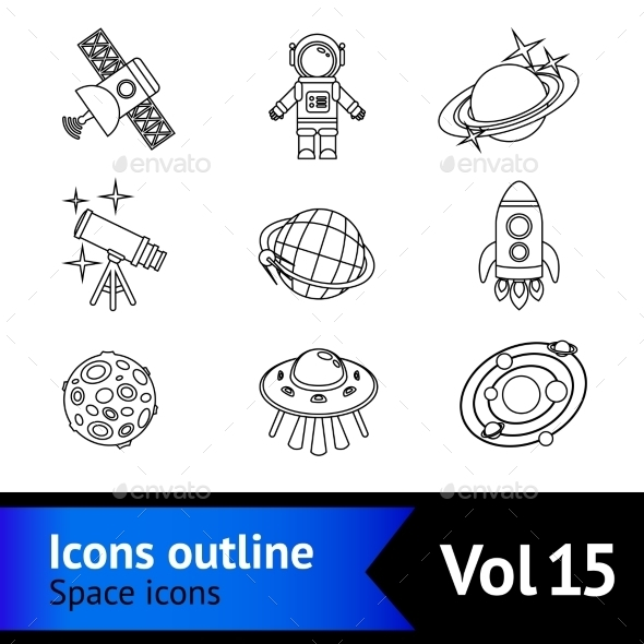 Space Icons Outline Set - Miscellaneous Icons