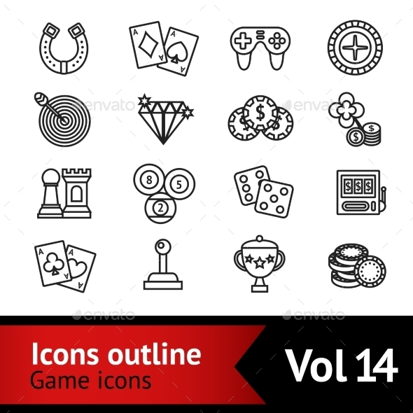 Game Outline Icons Set - Miscellaneous Icons