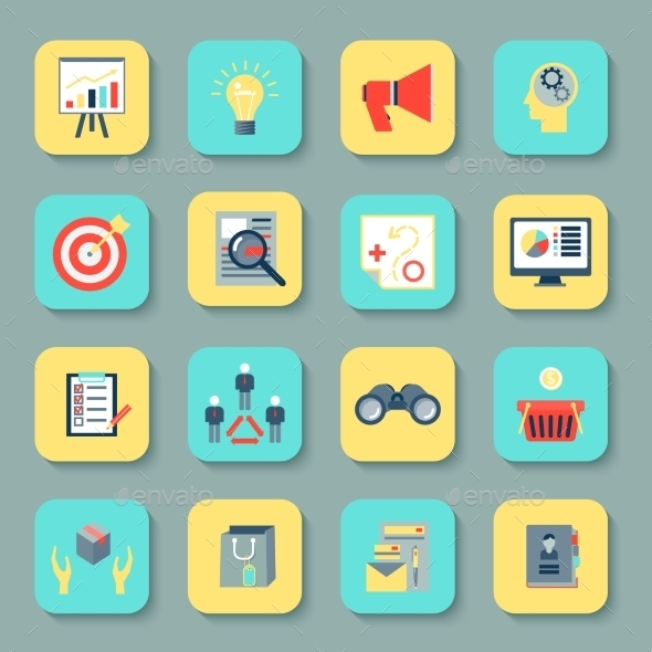 Marketers Flat Icons Set - Web Elements Vectors