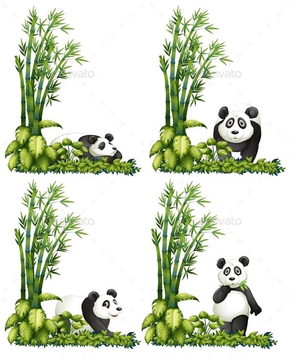 Panda and Bamboo - Animals Characters