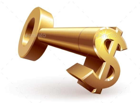 Gold Dollar Key - Business Conceptual