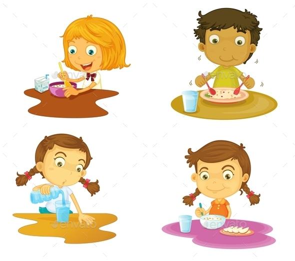 Kids Having Food - People Characters