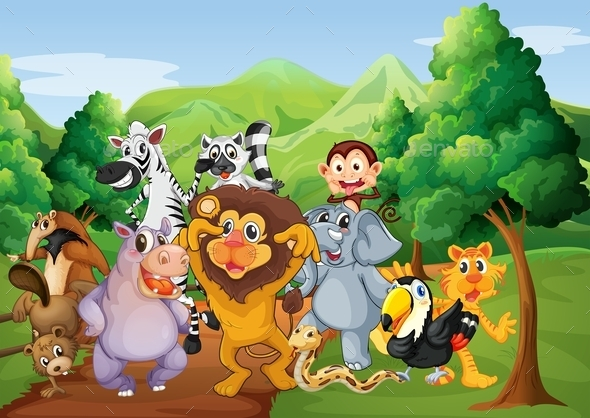 Group of Animals in the Jungle - Animals Characters