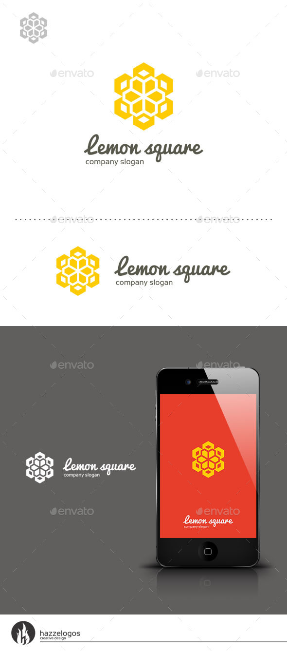 Lemon Square Logo - Vector Abstract