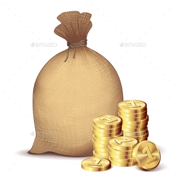 Money Bag and Gold Coins - Business Conceptual