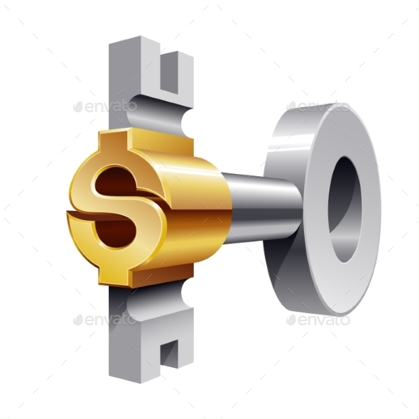 Gold Dollar Key - Business Conceptual