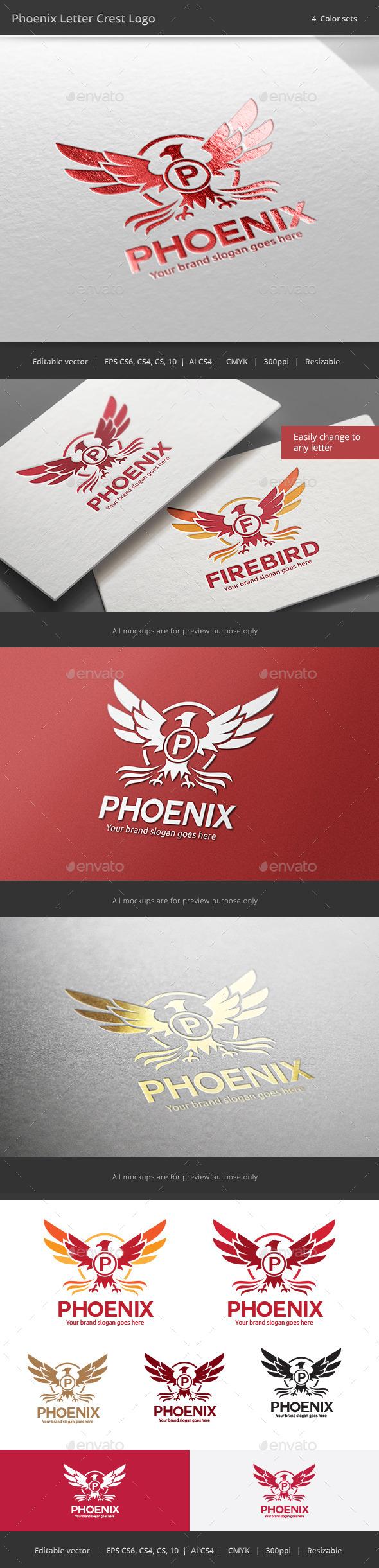 Phoenix Letter Crest Logo - Crests Logo Templates
