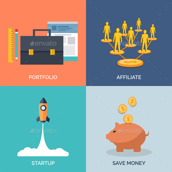 Set of Flat Design Concept Icons for Business - Concepts Business