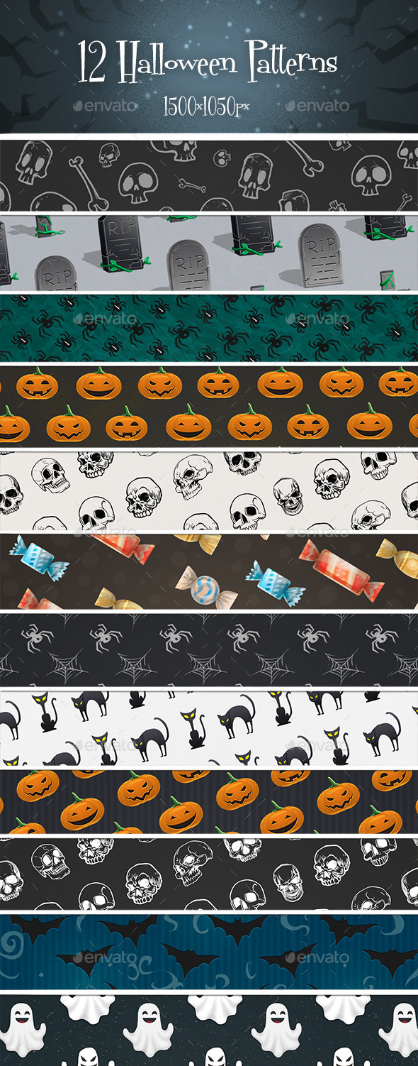 12 Halloween Patterns - Patterns Backgrounds
