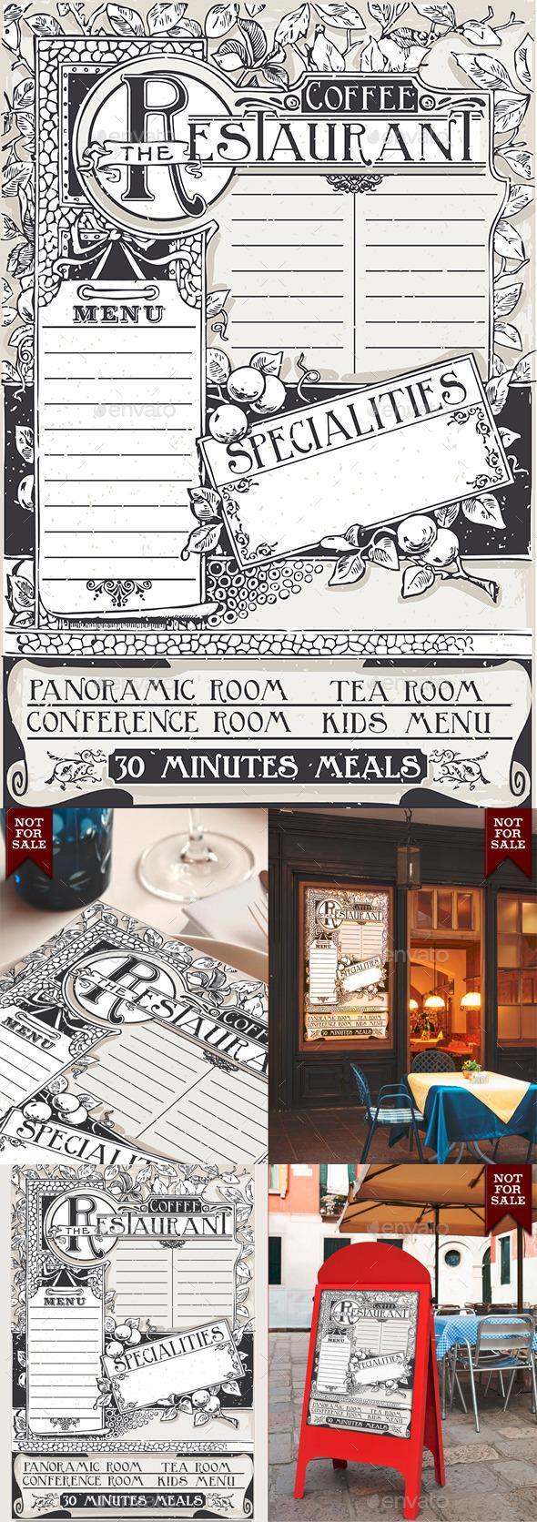 Vintage Graphic Page Menu for Restaurant - Decorative Vectors
