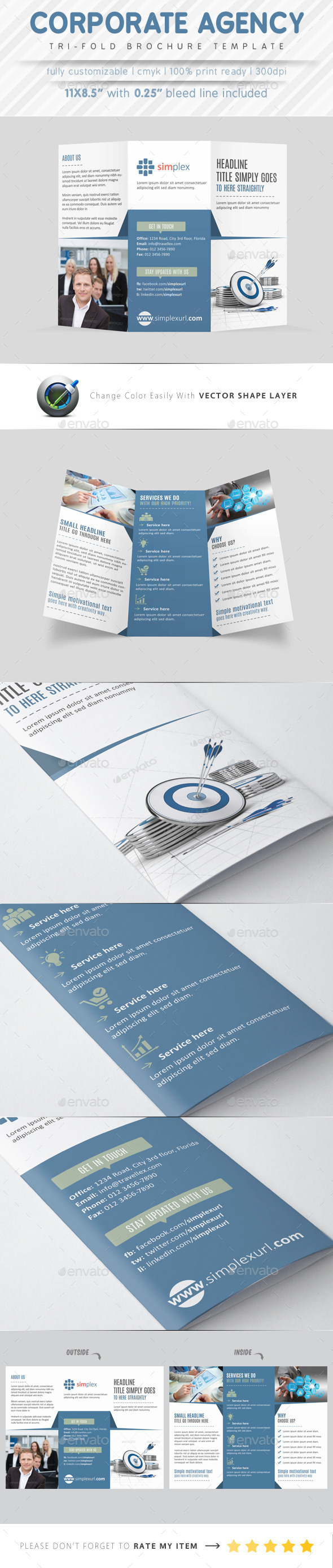 Corporate Agency Tri Fold Brochure - Corporate Brochures