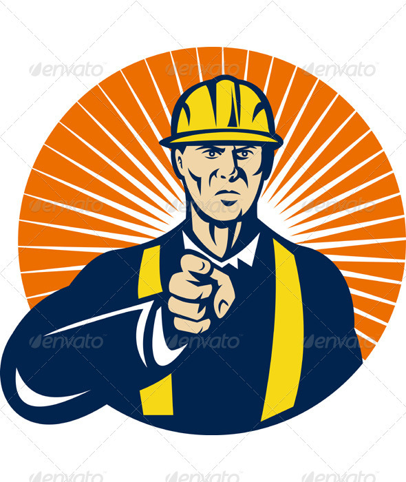 Construction Foreman Engineer Pointing Finger - Industries Business