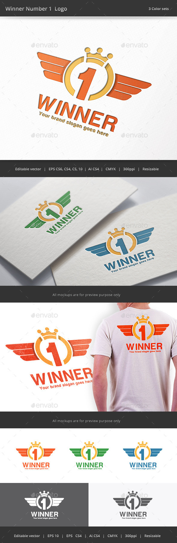 Winner Number 1 Logo - Numbers Logo Templates