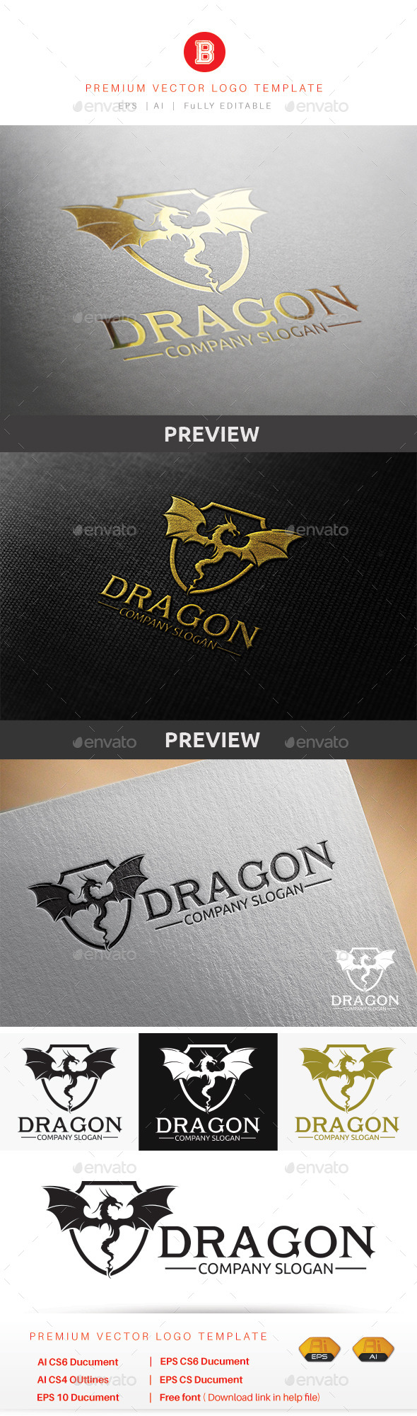 Dragon V.1 - Animals Logo Templates