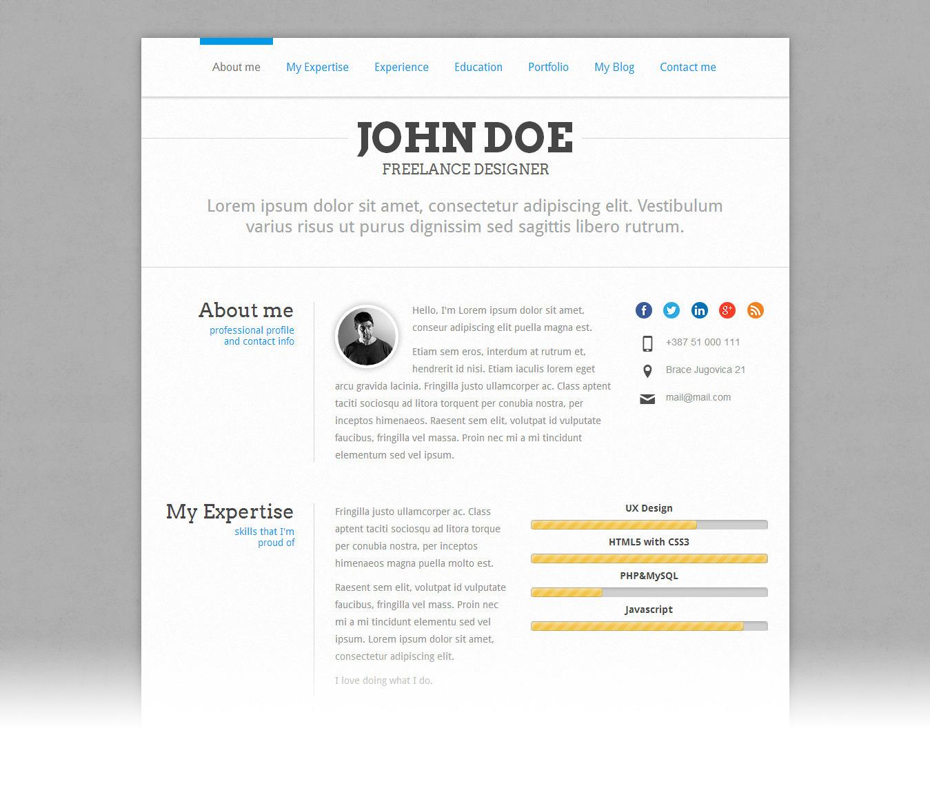 PerfectCV - Responsive CV / Resume Theme by pixeldizajn   ThemeForest