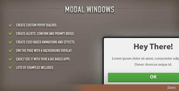 Modal Windows (jQuery) - CodeCanyon Item for Sale