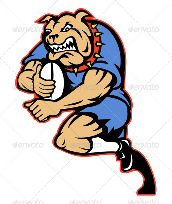 Bulldog Rugby Player Running With Ball - Animals Characters