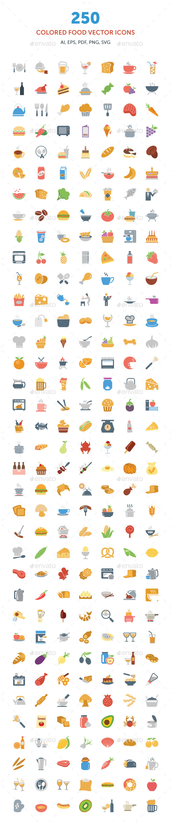 250 Colored Food Vector Icons - Food Objects