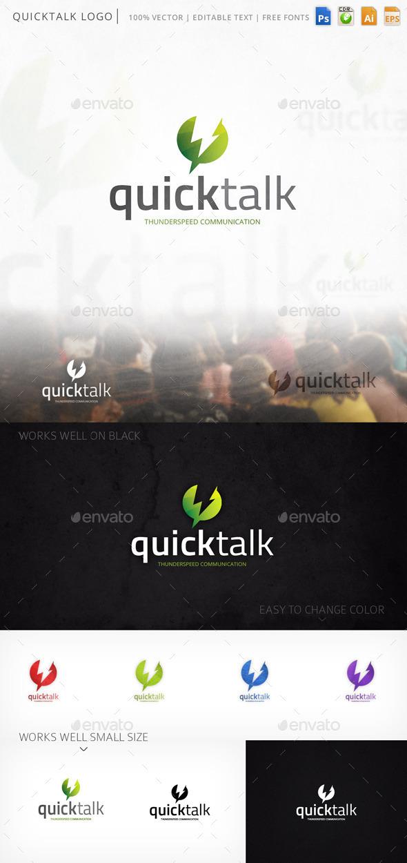 Quicktalk Chat Thunderbolt Logo Template - Symbols Logo Templates