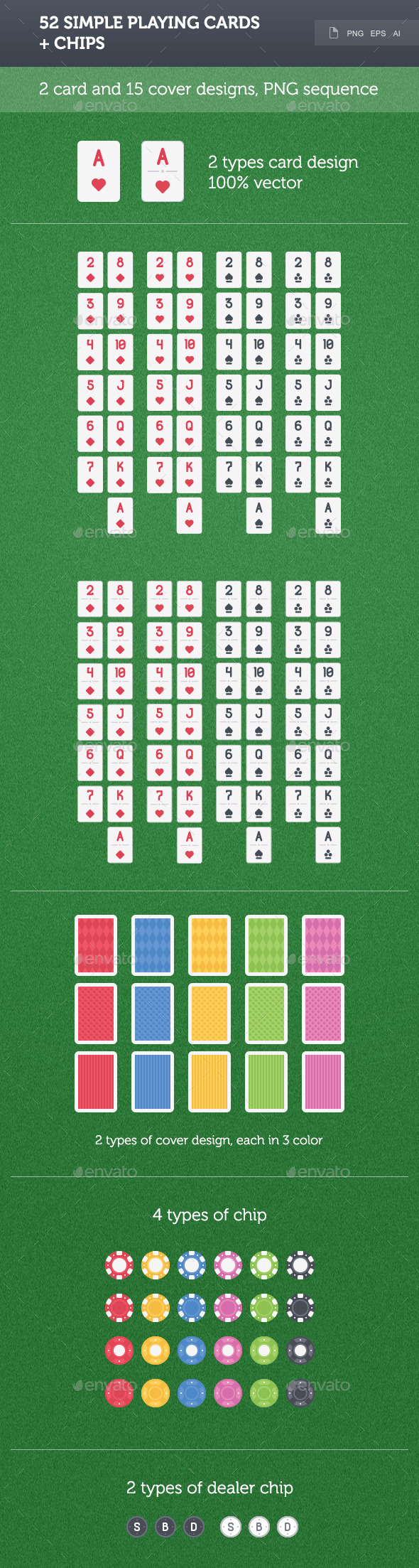52 Simple Playing Cards - Sprites Game Assets