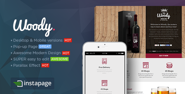 Woody - Drink Shop Instapage Landing page Template - Instapage Marketing