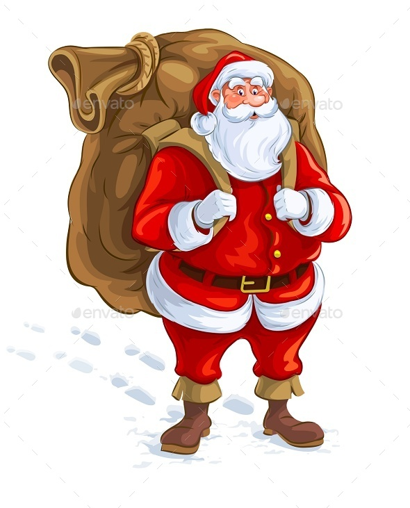 Santa Claus with Big Sack of Gifts - Christmas Seasons/Holidays