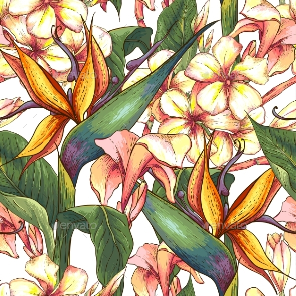 Tropical Seamless Pattern with Exotic Flowers - Patterns Decorative