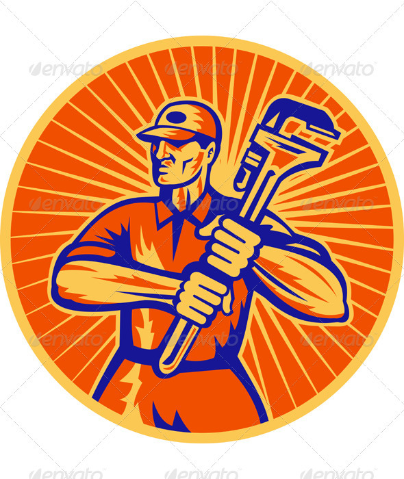 Plumber Repairman Holding Monkey Wrench - Industries Business