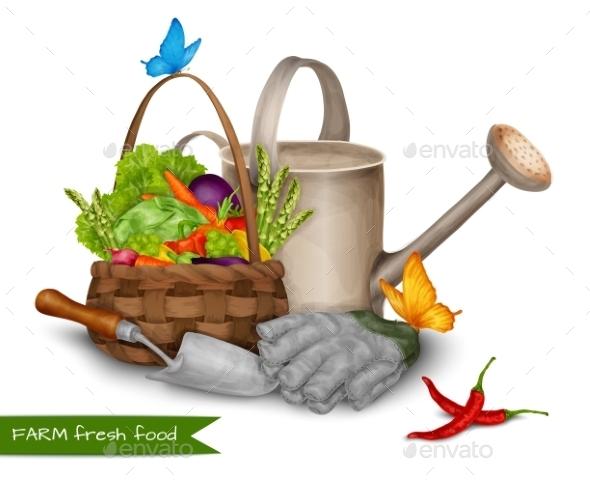 Farm Fresh Food Concept - Objects Vectors