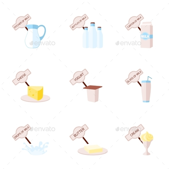 Milk Flat Icons Set - Food Objects
