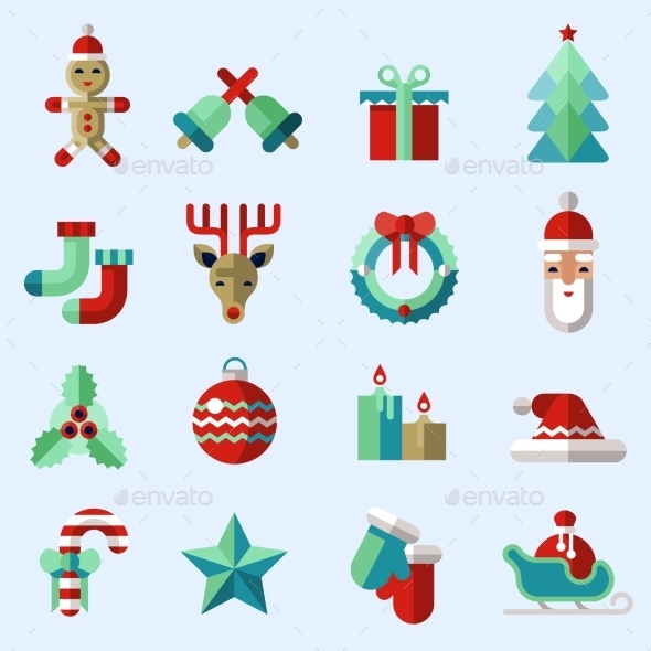 Christmas Icons Set Colored - Christmas Seasons/Holidays