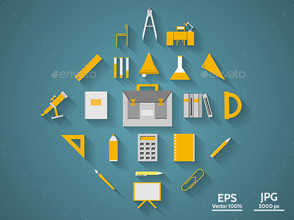 Flat Icons for School Supplies - Miscellaneous Vectors