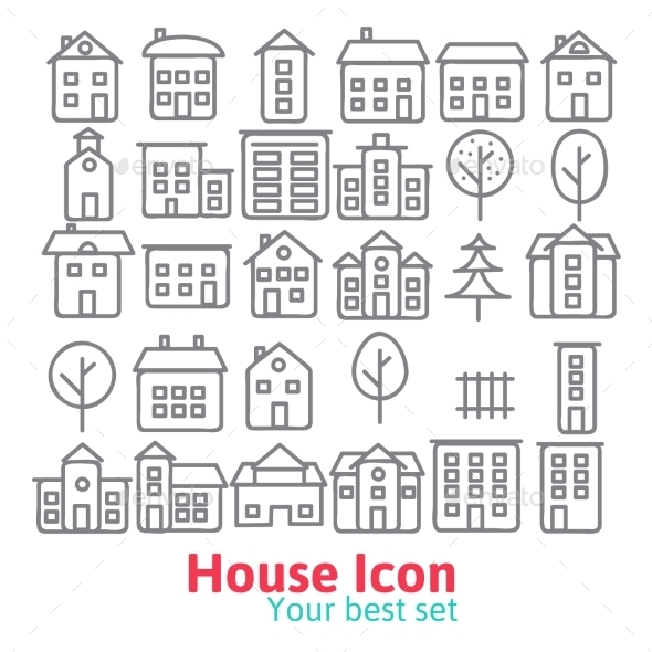 Building Icons Set.  - Objects Vectors
