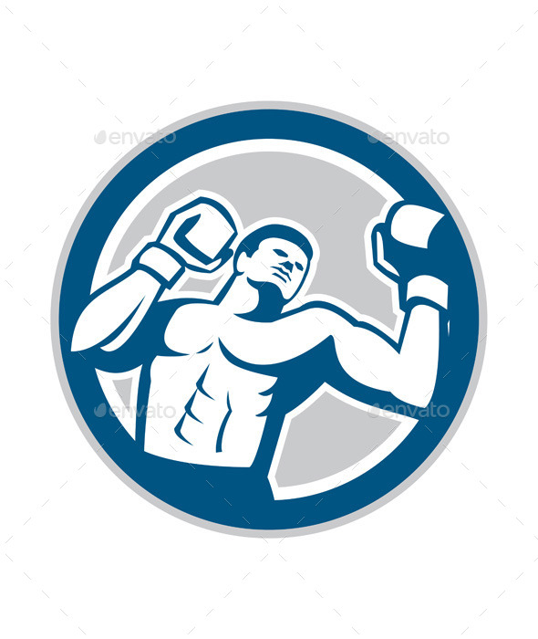 Boxer Boxing Boxing Circle Retro - Sports/Activity Conceptual