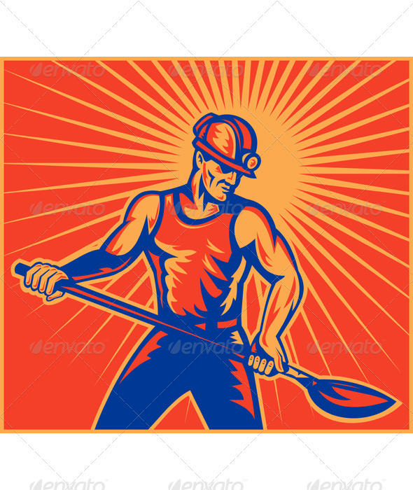 Coal Miner With Spade Shovel Retro Style - People Characters