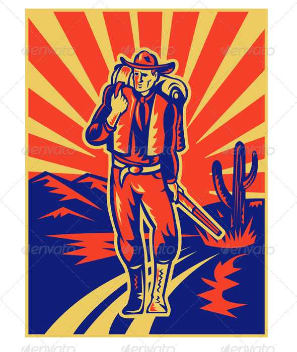 Cowboy With Backpack and Rifle Retro Style - People Characters