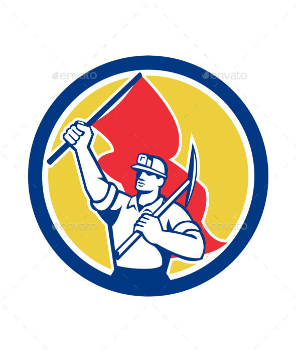 Coal Miner Hardhat Holding Axe and Flag Retro - People Characters