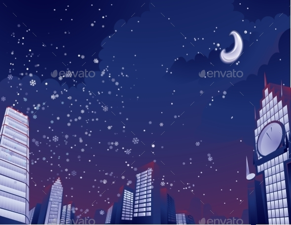 Night City Landscape - Christmas Seasons/Holidays