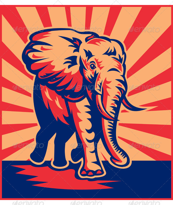 African Elephant Charging Retro Style - Animals Characters