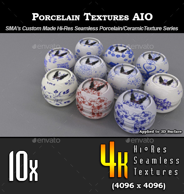 10 x Hi-Res Porcelain Textures - AIO - 3DOcean Item for Sale