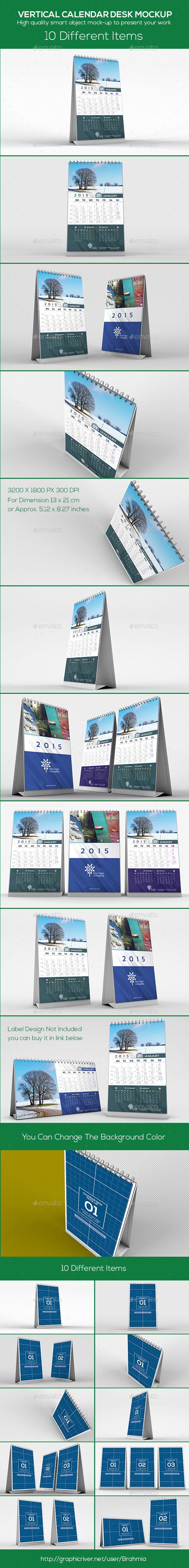 Vertical Calendar Desk Mockup - Miscellaneous Print