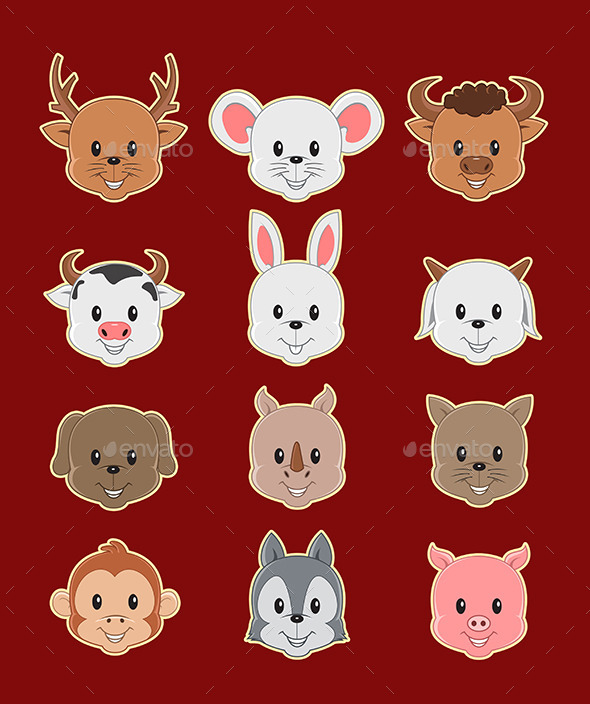 12 Face Cute Animal - Animals Characters