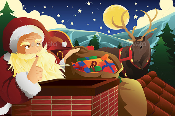 Santa Claus with Sleigh Full of Christmas Presents - Christmas Seasons/Holidays
