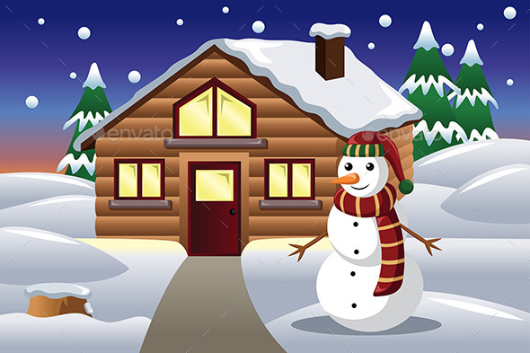 Snowman in Front of a House - Christmas Seasons/Holidays